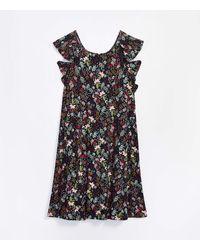 LOFT Garden Ruffle Swing Dress - Blue