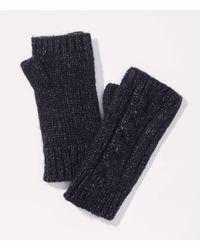 LOFT Cable Fingerless Gloves - Blue