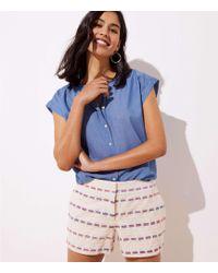LOFT - Striped Boucle Shorts - Lyst