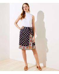 LOFT Bloom Wrap Skirt - Blue