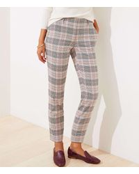 LOFT Plaid Slim Pencil Pants In Curvy Fit - Multicolor