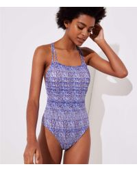 LOFT - Beach Wavy Strappy One Piece Swimsuit - Lyst