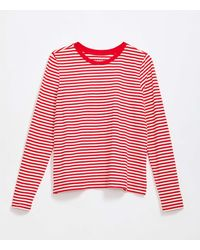 LOFT Striped Long Sleeve Tee - Red