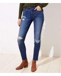 LOFT Tall Modern Floral Embroidered Slim Pocket Skinny Jeans In Original Mid Indigo Wash - Blue