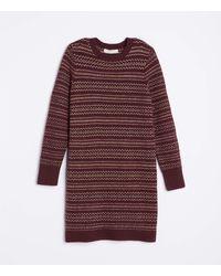 LOFT Fair Isle Sweater Dress - Purple