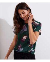 LOFT - Tropical Floral Button Shoulder Clean Tee - Lyst