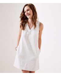 LOFT Textured V-neck Shift Dress - White