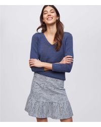 LOFT - Striped Flounce Pull On Skirt - Lyst