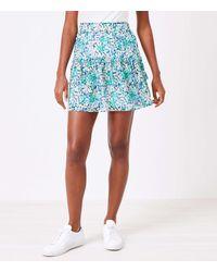 LOFT Petite Floral Tiered Ruffle Skirt - Blue