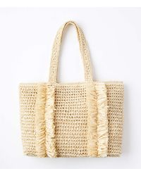 LOFT Fringed Straw Tote Bag - Metallic