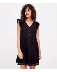 LOFT Eyelet Tiered Swing Dress - Black