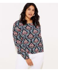 LOFT Plus Floral Trellis Bar Back Top - Blue