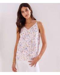LOFT Embroidered Bar Back Strappy Cami - Pink