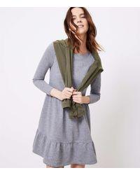LOFT Petite Tiered Swing Dress - Grey