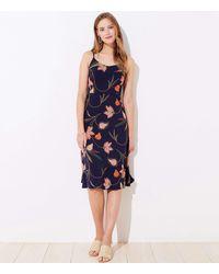 LOFT Petite Floral Smocked Back Strappy Midi Dress - Blue