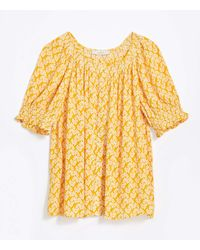 LOFT Floral Smocked Blouse - Yellow
