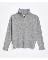 LOFT Ribbed Zip Collar Jumper - Grey