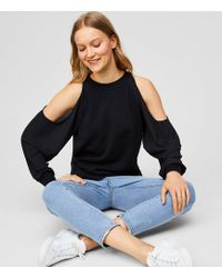 LOFT | Cold Shoulder Mixed Media Sweater | Lyst
