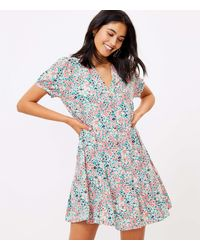 LOFT Floral Flounce Shirtdress - Blue