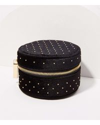 LOFT Studded Velvet Jewellery Case - Black
