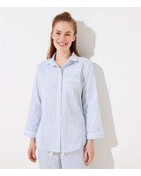LOFT Shimmer Stripe Pajama Top - Blue