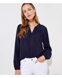 LOFT Textured Split Neck Blouse - Blue