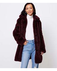 LOFT Petite Faux Fur Coat - Multicolour