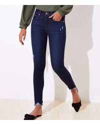 LOFT Destructed Chewed Hem Skinny Jeans In Staple Dark Indigo Wash - Blue