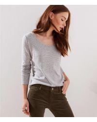 LOFT Speckle Striped Long Sleeve Shirttail Tee - Grey