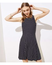 LOFT Striped Twist Back Flare Dress - Black