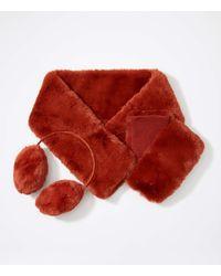 LOFT Faux Fur Pull Through Scarf - Red