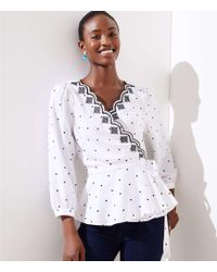LOFT - Dotted Scalloped Wrap Top - Lyst