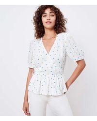 LOFT Floral Dot Wrap Blouse - White