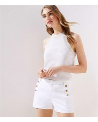 LOFT - Denim Sailor Shorts In White - Lyst