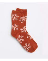 LOFT Snowflake Cosy Socks - Red
