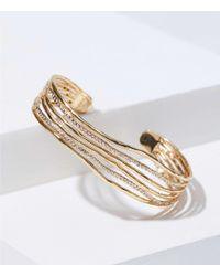 LOFT - Hammered Crystal Strand Cuff Bracelet - Lyst