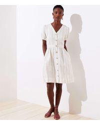 LOFT Striped Puff Sleeve Pocket Shirtdress - White