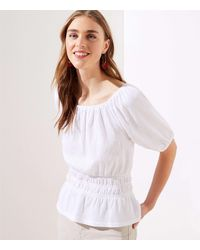 LOFT Petite Textured Cinched Waist Top - White