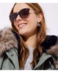 LOFT - Metallic Arm Marbleized Cateye Sunglasses - Lyst
