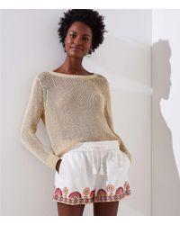 LOFT - Petite Sunset Floral Drawstring Shorts - Lyst