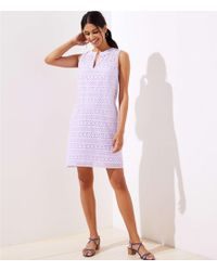 LOFT Petite Striped Eyelet Shift Dress - Purple