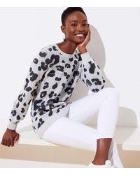 LOFT Leopard Jacquard Sweater - Gray