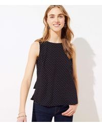 LOFT Dotted Tiered Button Back Shell - Black