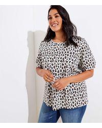LOFT Plus Leopard Print Knit Puff Sleeve Top - Multicolour