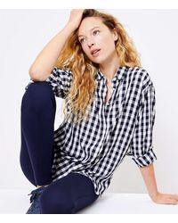 LOFT Petite Gingham Relaxed Shirt - Blue