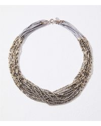 LOFT - Twisted Multistrand Bead Necklace - Lyst