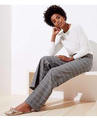 LOFT Brushed Plaid High Waist Wide Leg Pants - Gray