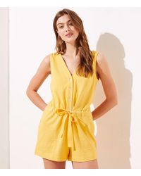 LOFT Beach Button Drawstring Romper - Yellow