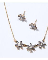LOFT Flower Earring & Necklace Set - Metallic