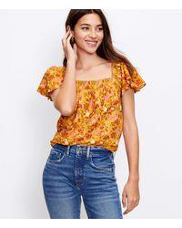LOFT Petite Floral Textured Flutter Sleeve Top - Orange